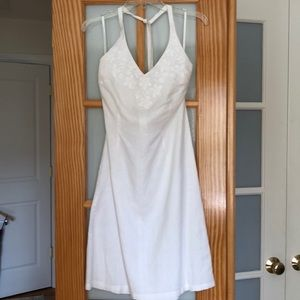 H&M white linen and cotton blend halter top dress